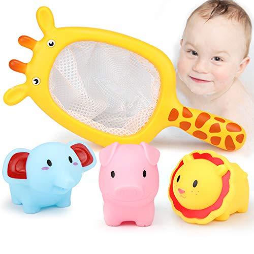 Mitlfuny Schwimmenden Boot Badespaß Zeit Großes Geschenk Bath Toys für Baby,Baby Baden schwimmende weiche Gummitiere Wasserwanne Spielzeug spritzt Löffel-Net 1 Satz