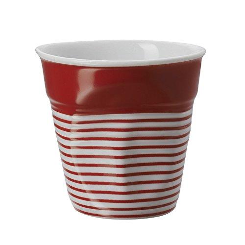 REVOL RV646084 Tasse Espresso froissé, Porcelaine, Blanc et Rouge, 6,5 x 6,5 x 6 cm