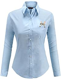 Dioufond Camisas Mujer Manga Larga Estampada de Gato con Bolsillo camiseta y Blusa