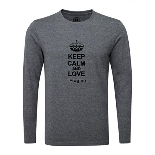 Keep Calm and Love Fraglen Luxury Slim Fit Long Sleeve Dark Grey T-Shirt