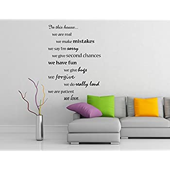 (42x60 Cm) Vinyl Wall Decal Quote In This House We Do And Are Family Part 52