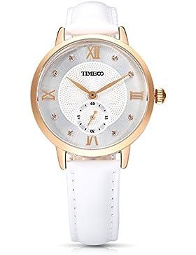 Time100 NEU Damenuhr Lederarmband Weiß Qaurzuhr Wasserdicht Armbanduhr mit Strass #W80099L.02A