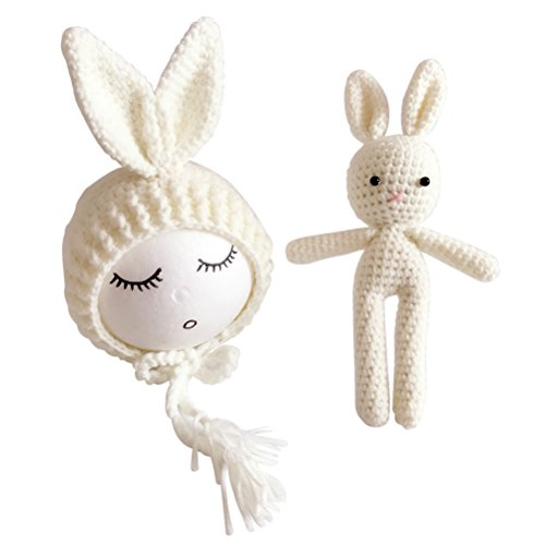 toymytoy Costume Bunny Baby Fotografie Prop Crochet Punkt für Babyphone Neugeborene 9.8 x 3.1 x 3.1 inch beige