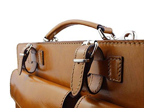 "Aktentasche Lehrertasche ""Crown"" in diversen Farben | Echtes Leder Made in Italy | Umhängetasche (B40xH30xT10) Cognac"