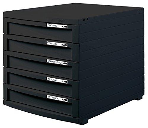 HAN 1505-13 Schubladenbox Contur, Modernes Organisationssystem, Ausbaubar, Premium Qualität für die professionelle Organisation mit 5 Geschlossenen Schubladen, lichtgrau