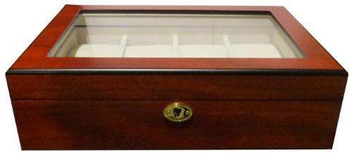 1B Ware Uhrenbox für 8 Uhren aus Holz extrem breite Uhrenfächer Fenster aus Echtglas