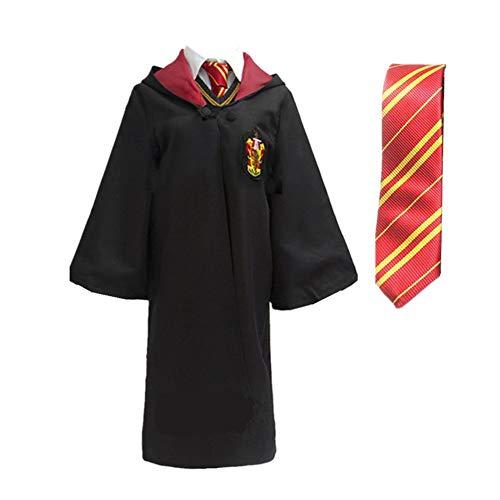LOVCRY Halloween Umhang Karneval Kostüm Cosplay Zauberei Cape mit Krawatte (Rot, M) (Harry Potter-hufflepuff Halloween-kostüme)
