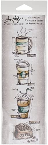 "Tim Holtz Mini Blueprints Strip Cling Stamps 3""X10""-Fresh Brewed ("