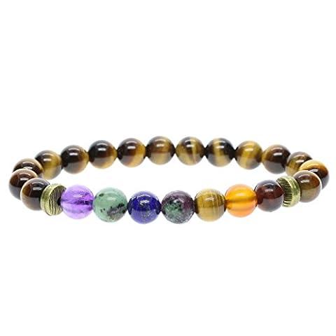 COAI® 7 Chakra Bracelet Yoga Pierres Naturelles Sept Perles Différentes