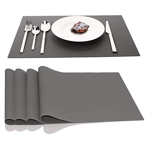 JYKJ Large Silicone Place Mats, Table Placemats Countertop Protection 17.7 x 12.6 inch, Set of 4 (Gray)