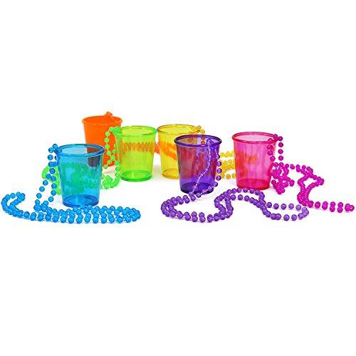 COM-FOUR 6x Schnapsgläser mit Kette zum Umhängen in verschiedenen Farben [Farbauswahl variiert], 45 ml (4,5 cl), ideal für Karneval, JGA,...