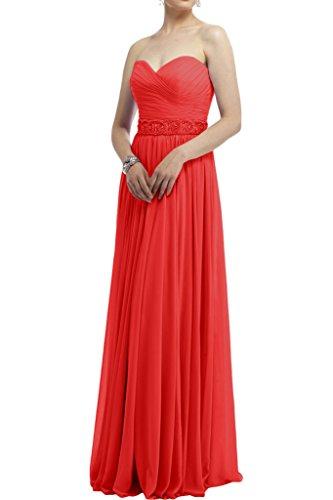Gorgeous Bride Klassisch Empire Lang Herz-Ausschnitt Chiffon Abendkleider Cocktailkleid Ballkleider Rot