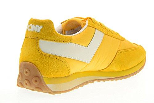 Pony Scarpe Uomo Sneakers Basse 555a-a3 Racer 3 Giallo-bianco