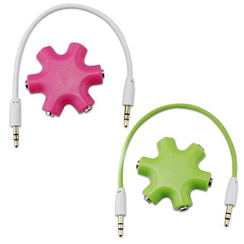 Aussel 2 Satz 3.5mm Kopfhörer Kopfhörer Verlängerungs Audio Splitter Adapter 1 Stecker auf 2 3 4 5 Female Audio Kabel (Pink+Green) -