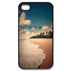 Stevebrown5v Take Me Away Exotic Beach Shore Case for IPhone 4/4s Girls Protective, Iphone 4 Case for Men Cheap for Boys with Black