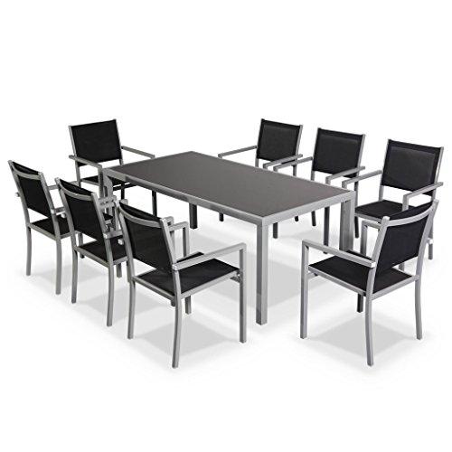 Alice's Garden Salon de jardin en aluminium et textilène - Capua 180cm - Gris, noir - 8 places - 1 grande table rectangulaire, 8 fauteuils empilables