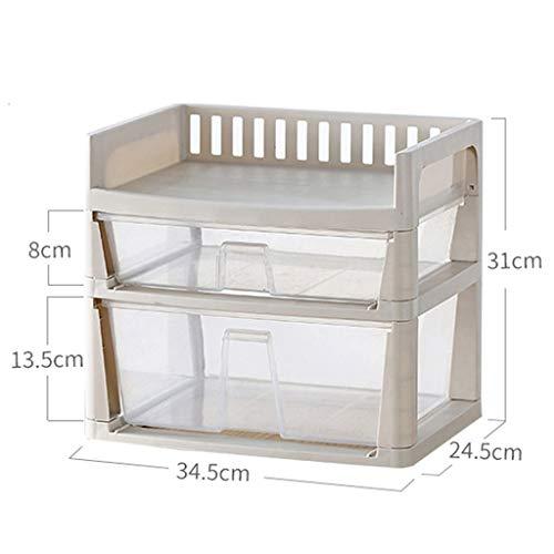 KKY-ENTER Boîte de rangement cosmétique transparente en plastique Type de tiroir de bureau Rouge à lèvres Bijoux produits de soins de la peau Boîte de stockage affichage 34.5 * 24.5 * 31cm