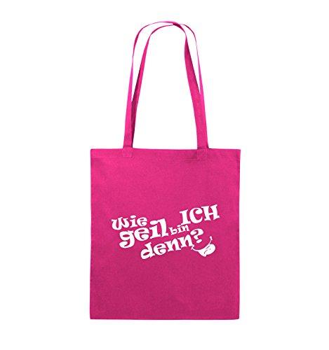 Comedy Bags - Wie geil bin ICH denn? - ZUNGE - Jutebeutel - lange Henkel - 38x42cm - Farbe: Schwarz / Pink Pink / Weiss
