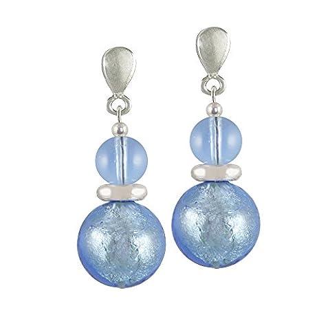 Caprice Pastel Blue Venetian Murano Glass Clip On Earrings (Silver)