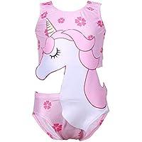 JLWF Traje De Baño para Niños Unicornio Traje De Baño Suave Y Lindo Combinado Pink-140cm