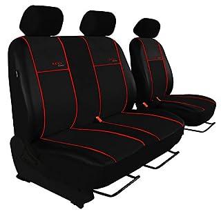 Maßgefertigter Sitzbezüge für Citroen Jumper II ab 2006, Fahrersitz + 2er Beifahrersitzbank design KUNST-Line. Hier mit roter Lamelle(In 5 Lamellen-Farben bei anderen Angeboten erhältlich)