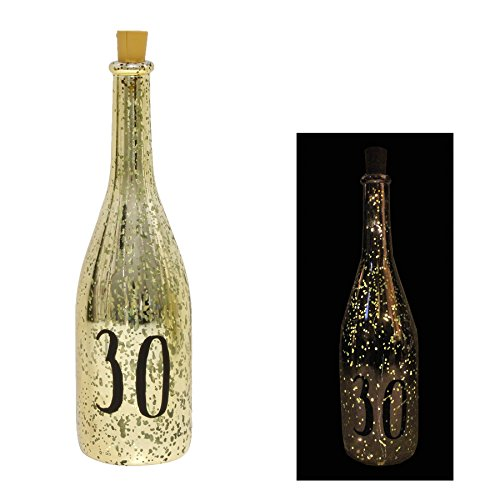 Gold Crackle Glaze Battery Light Up Bottle with Number - 30th Birthday Gift