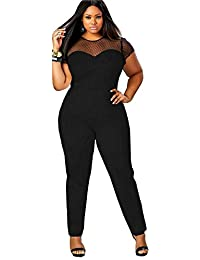f0b657905880 Vdual Women Plus Size One Shoulder Jumpsuit Playsuit Sleeveless Plain Harem Oversized  Romper