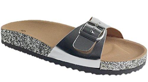 CAPRIUM Pantoletten Sandalen Comfort Slipper Tieffußbettpantoletten, Damen 00035033505 Silber