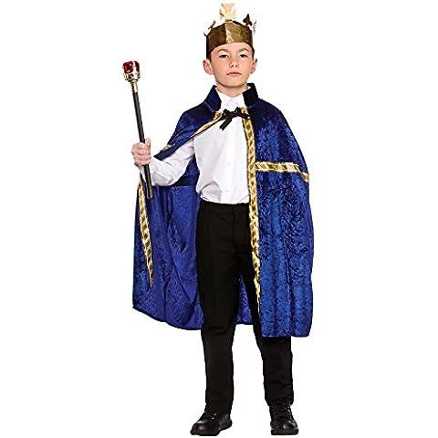 Childs Deluxe Blue King/Queen Robe & Crown Fancy Dress