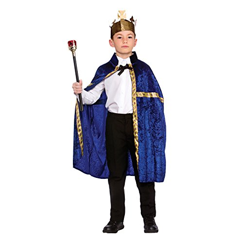 Childs Deluxe Blue King/Queen Robe & Crown Fancy Dress Costume