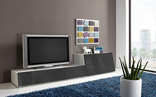 Wohnzimmerschrank, Wohnwand, Schrankwand, Anbauwand, Fernsehwand, Wohnzimmerschrankwand, Wohnschrank, weiß, anthrazit