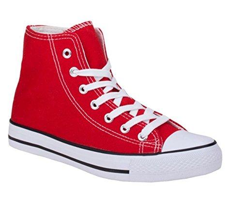 Neu Damen Sneakers Freizeit Turnschuhe High Top Schuhe (38, Rot) (Rote Chucks)