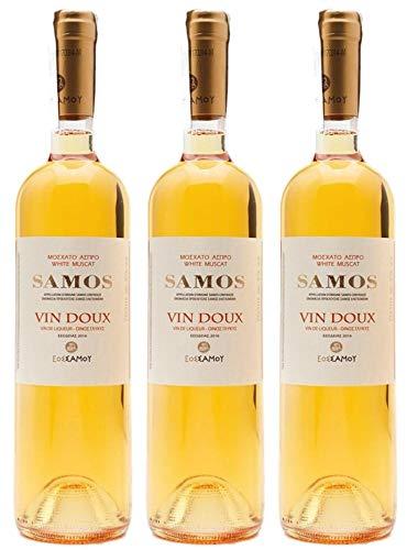 "3x 0,75l Samos\""Vin Doux\"" Likörwein weiß süß P.D.O.   15{fbb6b7a81594034222382700ebb820bf237ae8ec2b69a054bbbecd7242045a4c} Vol.   + 1 x 20ml Olivenöl von Kreta"