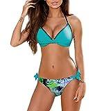 Damen Bikini Push Up Bohemia Gepolsterte Bikini Set Badeanzug Badeanzug Bademode Beachwear Swimming Moonuy