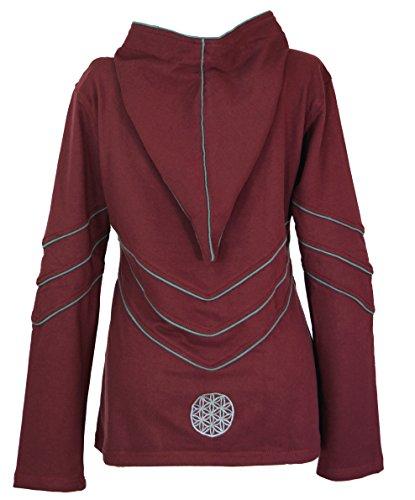 Guru-Shop Elfensweatshirt, Hoody mit Langer Kapuze, Damen, Baumwolle, Pullover, Longsleeves & Sweatshirts Alternative Bekleidung Wine