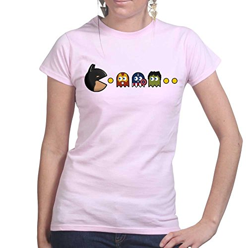 Bat Or Pac Funny Superhero Ladies T Shirt (Tee, Top) Pink
