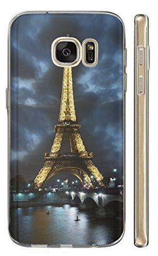 Hülle für Samsung Galaxy J5 2016 Hülle Softcase TPU Handyhülle für Samsung J5 2016 Cover Backkover Schutzhülle Slim Case (394 Eifelturm Paris Frankreich bei Nacht Blau Gelb)
