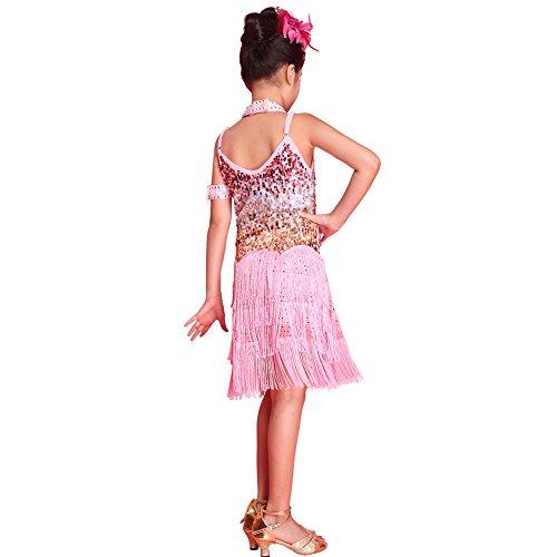 Brightup Sequined Latein SalsaTassel Tanzkleid Kinder Partei Dancewear Kostüm