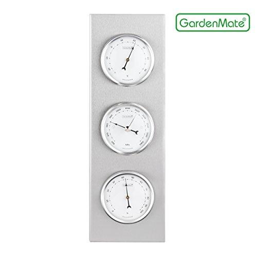 GardenMate® Wetterstation analog BOB Edelstahlrahmen 30x10cm Barometer Thermometer Hygrometer