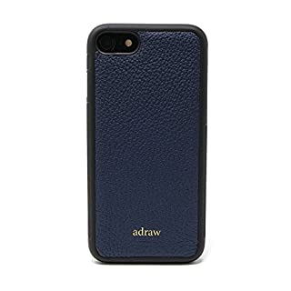 adraw iPhone 7/8 Echtleder Case, edle Schutzhülle, Luxus Handyhülle, Leder Case, Hülle, echt Leder Etui (Apple iPhone 7/8, Navy)