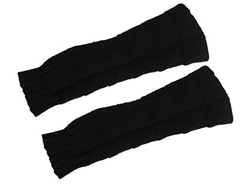 sourcingmap® Paar Damen gestrickt Ribbed Arm Wärme Daumenloch Lang Fingerlos Handschuhe (Solid Gestrickt Color)