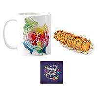 """YaYa Cafeâ""""¢ Holi Sweets Gift Gujia Combo Joy of Colors Mug, Coaster, Kesar Gujiya - 500 gm"""