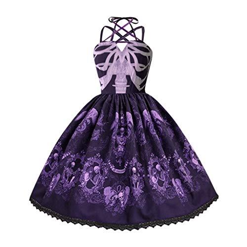 IMJONO Damen Kleid ,Damenmode Schädeldruck Punk Stil Strap Hepburn Kleid Big Swing Party Dress(Lila,Medium) - Royal Castle Violett