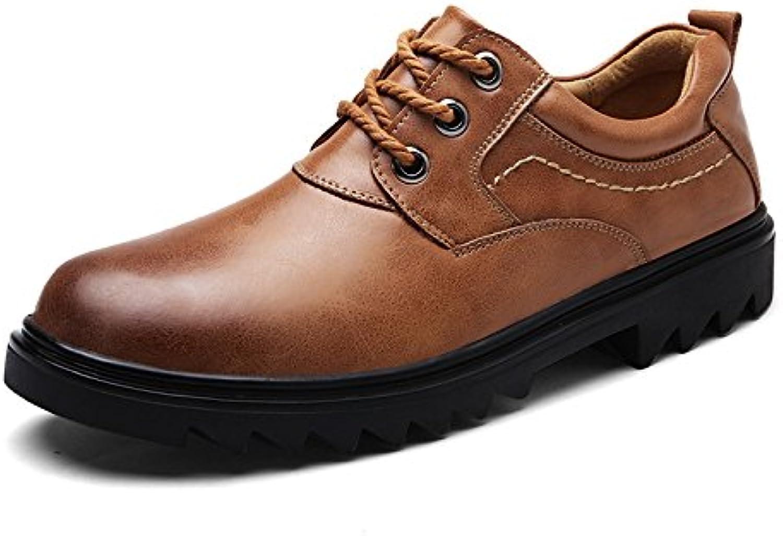 DHFUD Hombres Caballero Negocios Moda Transpirable Antideslizante Ligero Al Aire Libre Zapatos De Cuero -