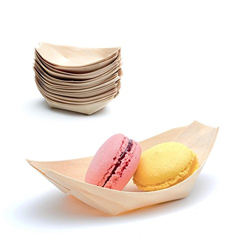 Casparo Eco Design 100 x Holz-Schälchen Natur | 100% kompostierbar & FSC-Zertifiziert | edel & Dekorativ | Bio Einweg-Geschirr | Holz-Schalen perfekt für Finger-Food | Party-Geschirr Holzschiffchen