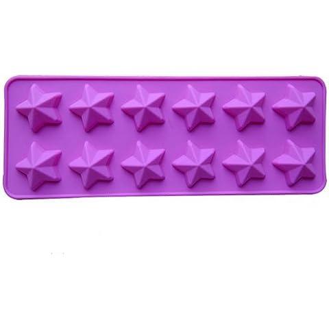 Dansuet 12 Cavit¨¤ antiaderente Stella a cinque punte del gel del silicone della muffa della torta di cioccolato del mestiere Candy Soap vassoio del cubo di ghiaccio della muffa Bakeware fai da te, di stampo Bakeware fai da te per le donne