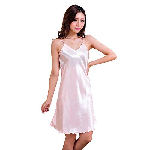 Honeystore Damen Edles Nachthemd Nachtwäsche Negligee aus Satin Lingerie Nachtkleid Tops Rosa XXL (Schwarze Badeanzug Talar)