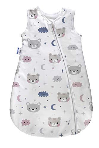 MamyNukas Baby Schlafsack – Winterschlafsack/Sommerschlafsack für Jungen und Mädchen - verziert mit niedlichen Bärchen und Wolken - 0-6 Monate - Luftdurchlässig & Bequeme 100% Baumwolle - ganzjährig