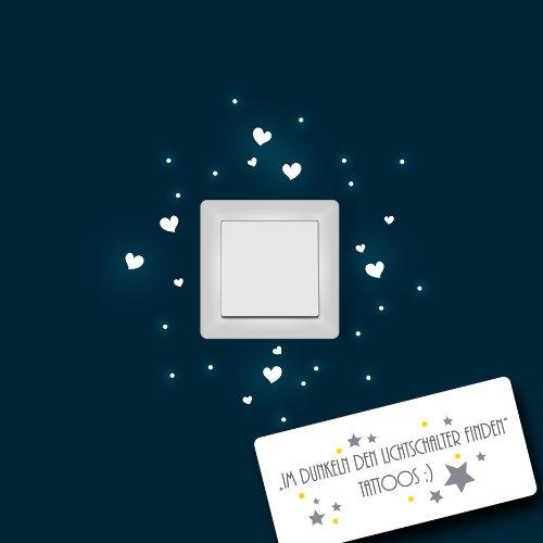 ilka parey wandtattoo-welt® Leuchtsticker Lichtschaltertattoo Wandsticker Herzen Punkte Wandtattoo fluoreszierend für Lichtschalter leuchtend fluoreszierend nachtleuchtend Wandaufkleber Lichtschaltersticker M955