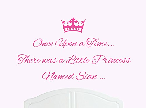 ONCE UPON A TIME THERE WAS A LITTLE PRINCESS LLAMADO SIAN GRANDE ADHESIVO DECORATIVO PARA PARED/DE VINILO CAMA HABITACION ARTE CHICA/BEBE